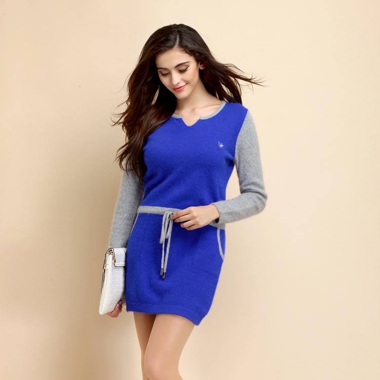 2014新款拼色长款貂绒衫时尚修身打底衫保暖针织毛衣女