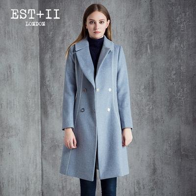 EST+II/艺诗2016冬季新款韩版双排扣毛呢大衣女中长款V领呢外套