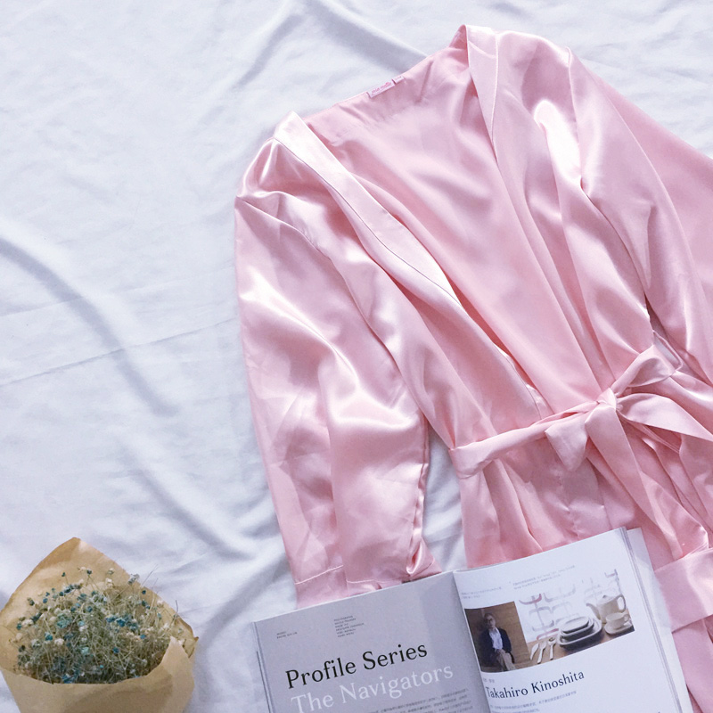 男女情侶裝通用居家浴衣韓版中長款睡袍睡衣牛奶 DS