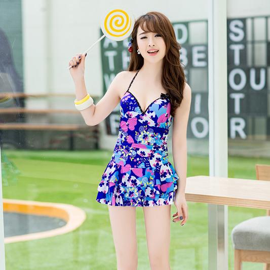 品牌连体裙式性感钢圈钢托小胸聚拢显瘦遮肚女泡温泉游泳衣泳装