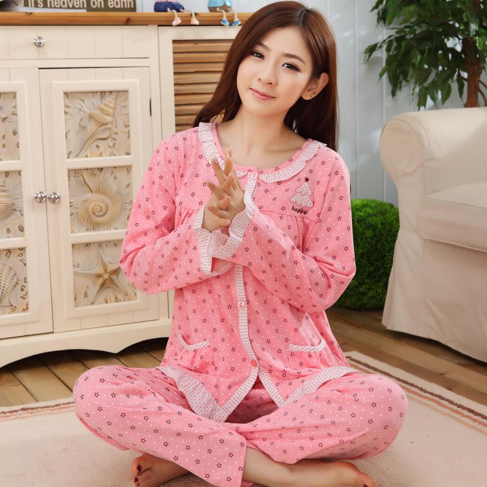 冬季睡衣女冬纯棉长袖长裤可爱甜美加肥加大码秋天服