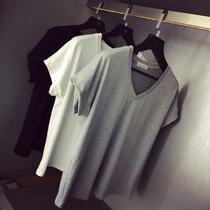 休闲宽松V领短袖T恤女韩版莫代尔棉短袖T恤衫纯色简洁百搭tee