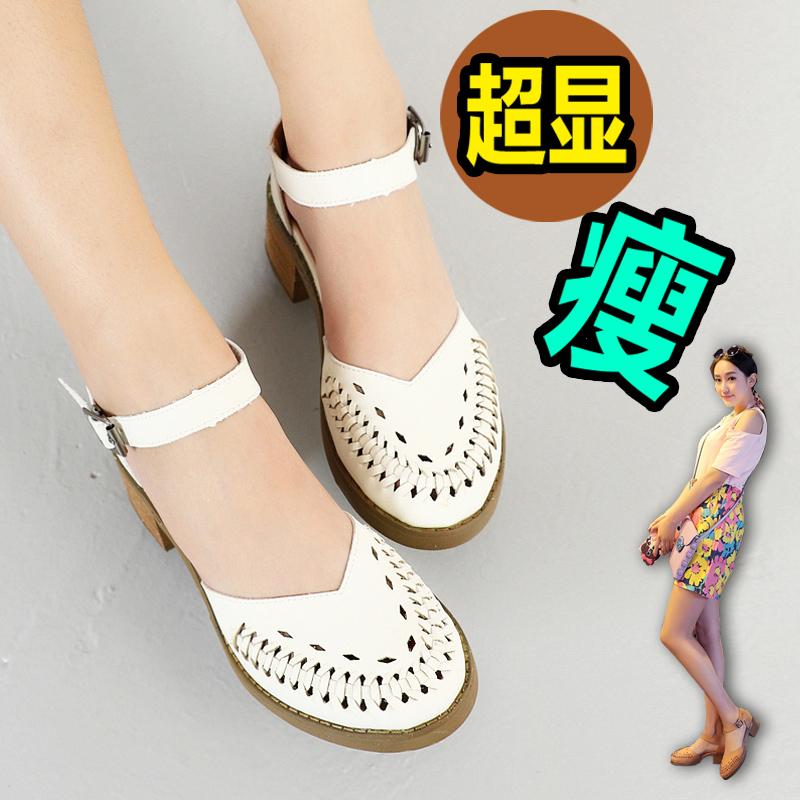 2015夏季新款英伦复古凉鞋女粗跟中跟包头休闲鞋罗马鞋厚底女鞋潮