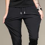 夏季薄款弹力休闲裤黑色青年长裤速干修身松紧卫裤子男宽松运动裤