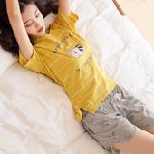 睡衣女夏纯棉短袖短裤韩版宽松清新学生两件套夏季全棉家居服套装