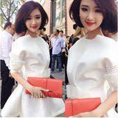 秋装新款韩版气质白色蓬蓬裙甜美修身显瘦小礼服洋装连衣裙短裙