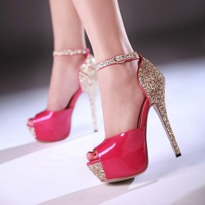 2015夏天新款亮片性感夜店女鞋超高跟鱼嘴凉鞋细跟黑白单跟亮皮鞋