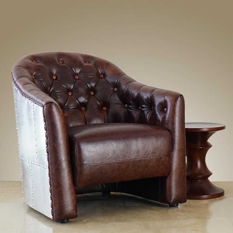 欧式新古典老虎椅 创意loft真皮单人沙发