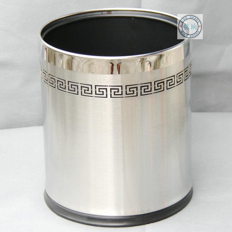 双层欧式 高档创意时尚不锈钢垃圾桶宾馆无盖酒店家用厨房垃圾桶