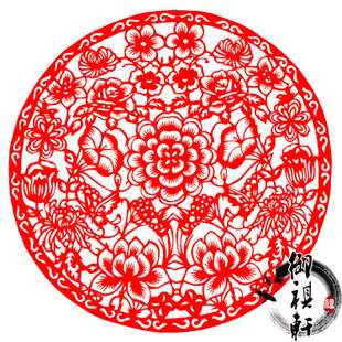 鸡年春节装饰年货中国特色礼品手工剪纸作品窗花玻璃贴刻纸富贵花