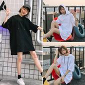 夏季装新款韩版宽松百搭连帽卫衣女中长款短袖纯色套头卫衣连衣裙