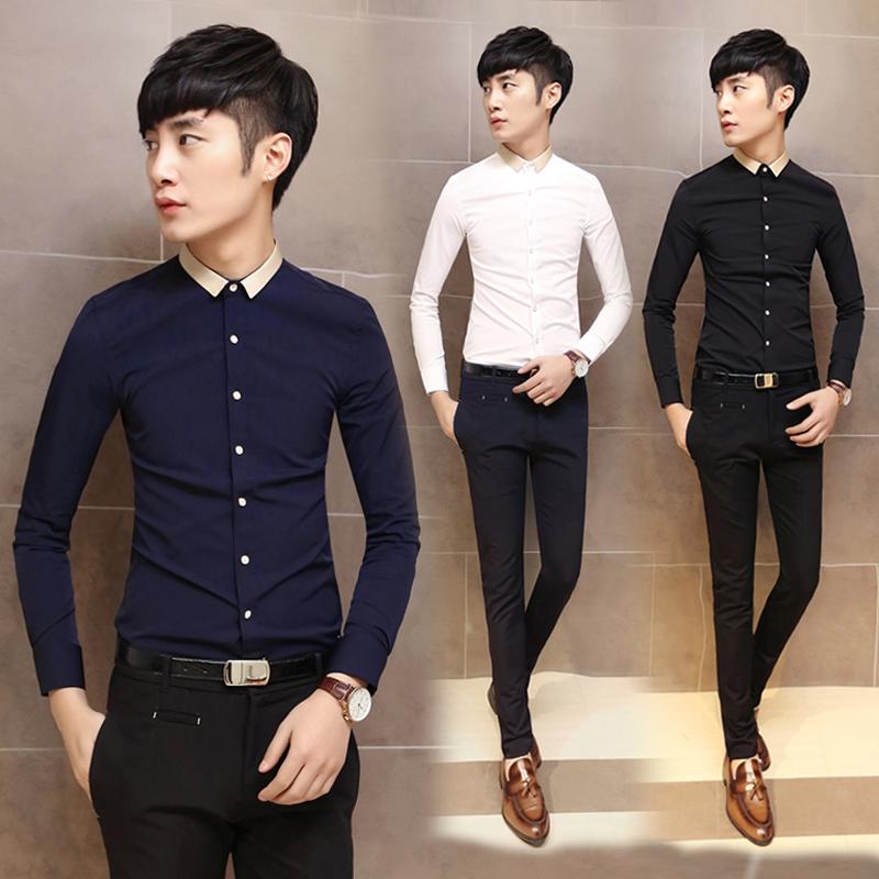 长袖衬衫男 时尚韩版修身男衬衣 理发师衬衫潮男装 免烫青年衬衣