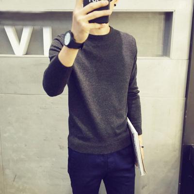 韩版男士毛衣男针织衫圆领毛线衣加绒加厚修身宽松打底衫长袖线衫