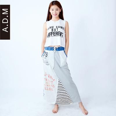 [秋款特惠] ADM/瑷德玛ADM2015棉半裙运动休闲风撞色拼接针织棉女半身长裙