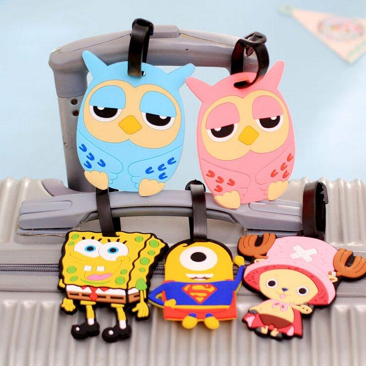 韩国创意可爱卡通硅胶乘务员行李牌标签登机牌旅行箱吊牌托运挂牌