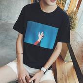 港风夏装新品撞色ins红人男士短袖T恤个性青年韩版简约百搭上衣潮