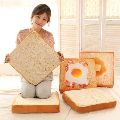 仿真面包坐垫靠垫微博同款吐司抱枕毛绒居家猫咪面包型坐垫萌物