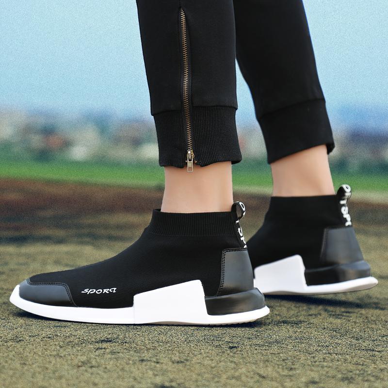雅煊秋季黑色帆布鞋韩版男鞋子潮流个性高帮中学生百搭运动休闲鞋