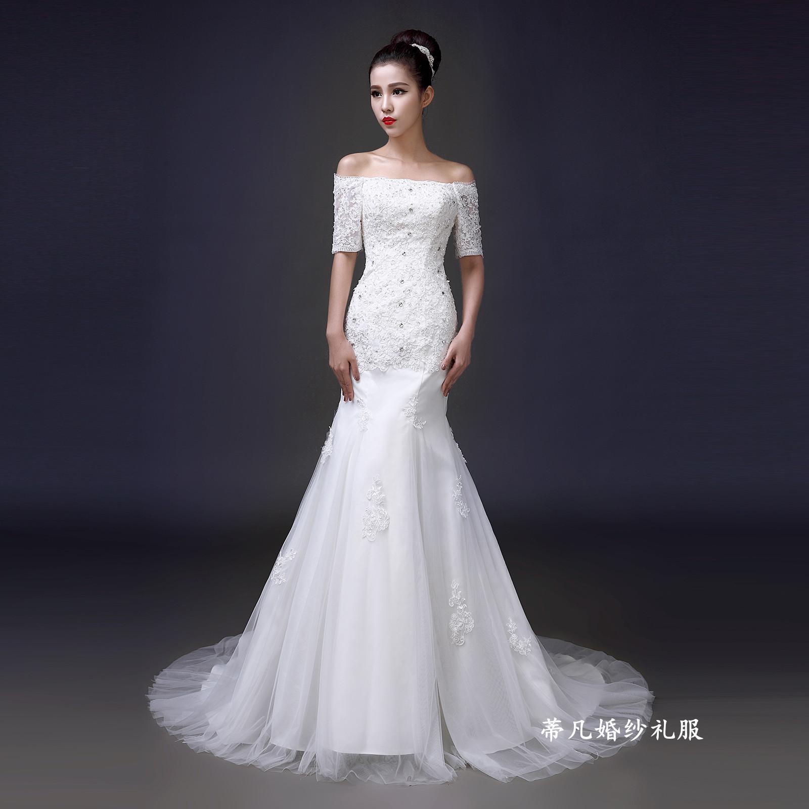 婚纱礼服新款2014冬季时尚一字肩拖尾鱼尾修身韩式新娘双肩型显瘦