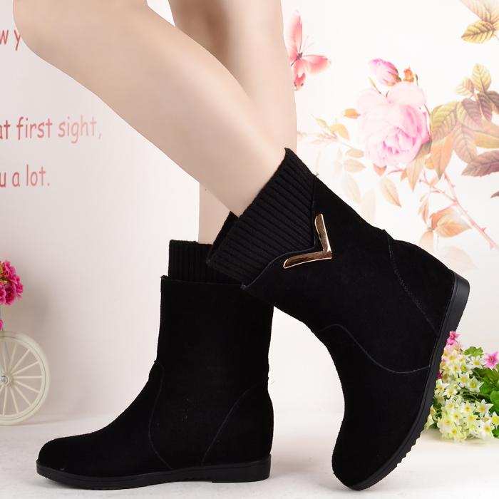 专柜正品内增高磨砂牛皮中筒靴2014冬季新款套筒靴中跟真皮女靴子