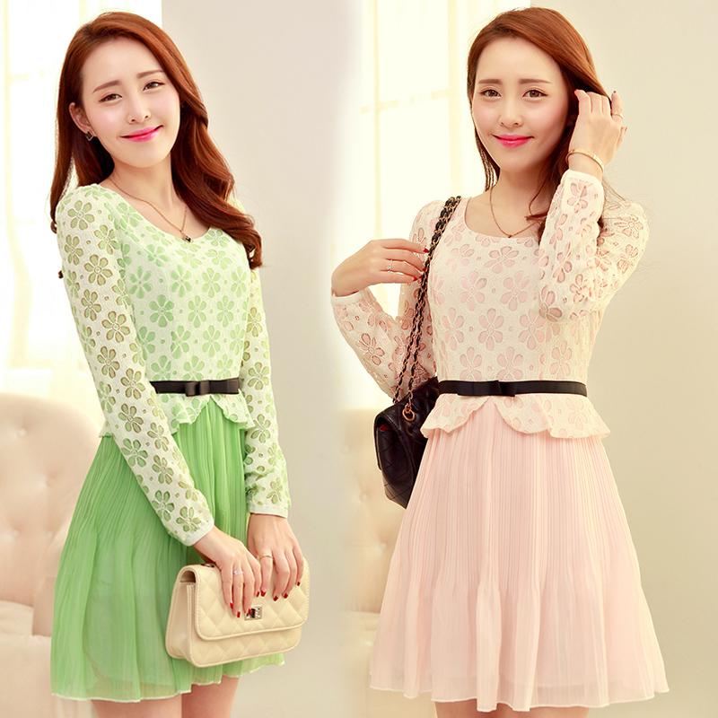 2015春装新款女韩版大码女装长袖连衣裙蕾丝雪纺公主裙修身打底裙