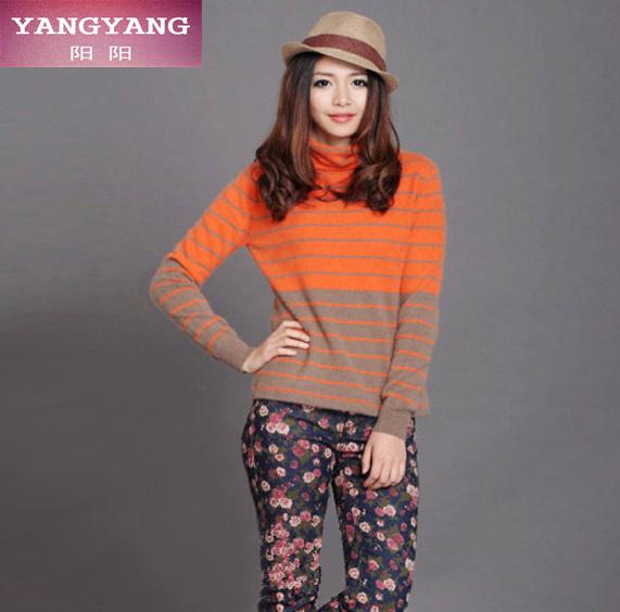 100 纯山羊绒衫女秋冬韩版女式毛衣外套套头堆领条纹针织衫打底衫