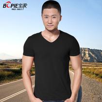 包邮宝派男士短袖T恤莫代尔纯色V领修身运动时尚休闲紧身打底汗衫