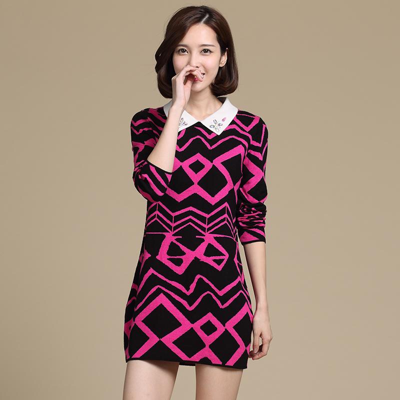 春秋新款百搭长袖针织衫有领韩版修身打底套头薄毛衣带领打底衫女