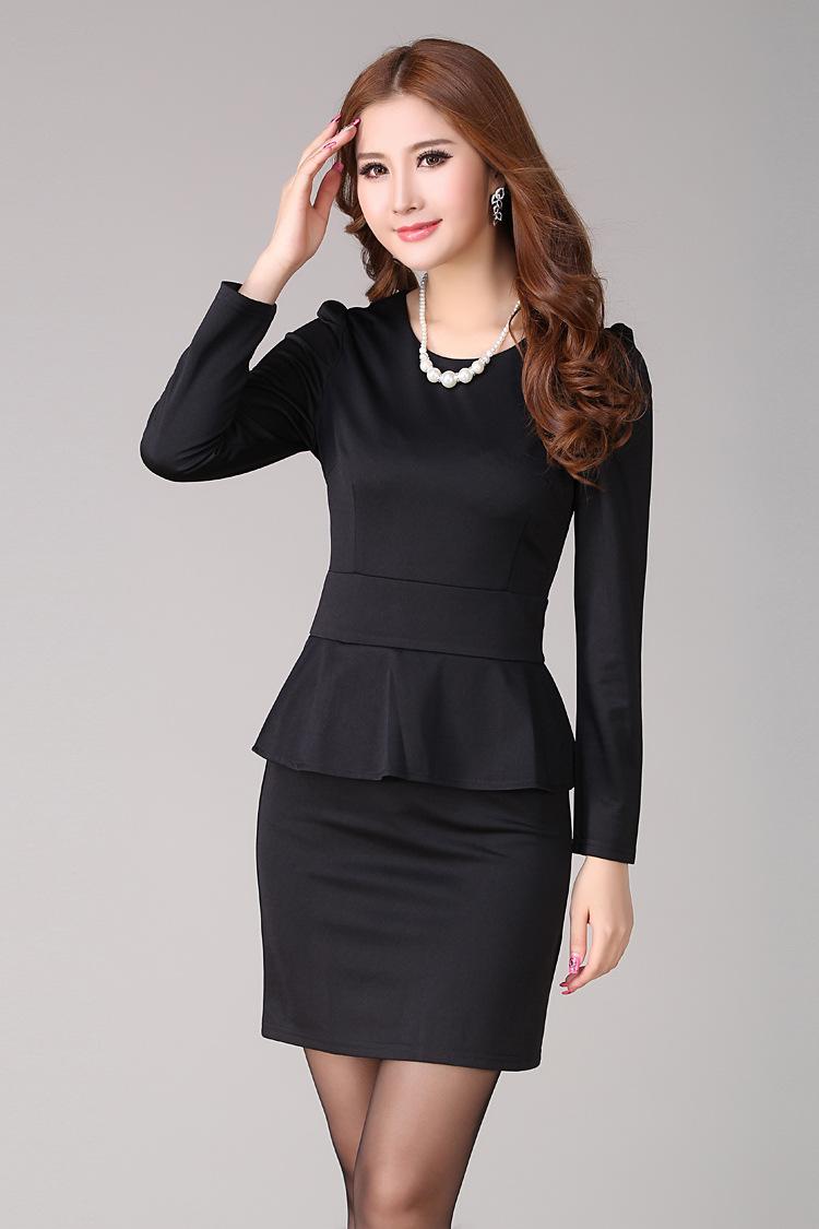 久远新款韩版修身职业装连衣裙长袖OL气质包臀女大码女装工装