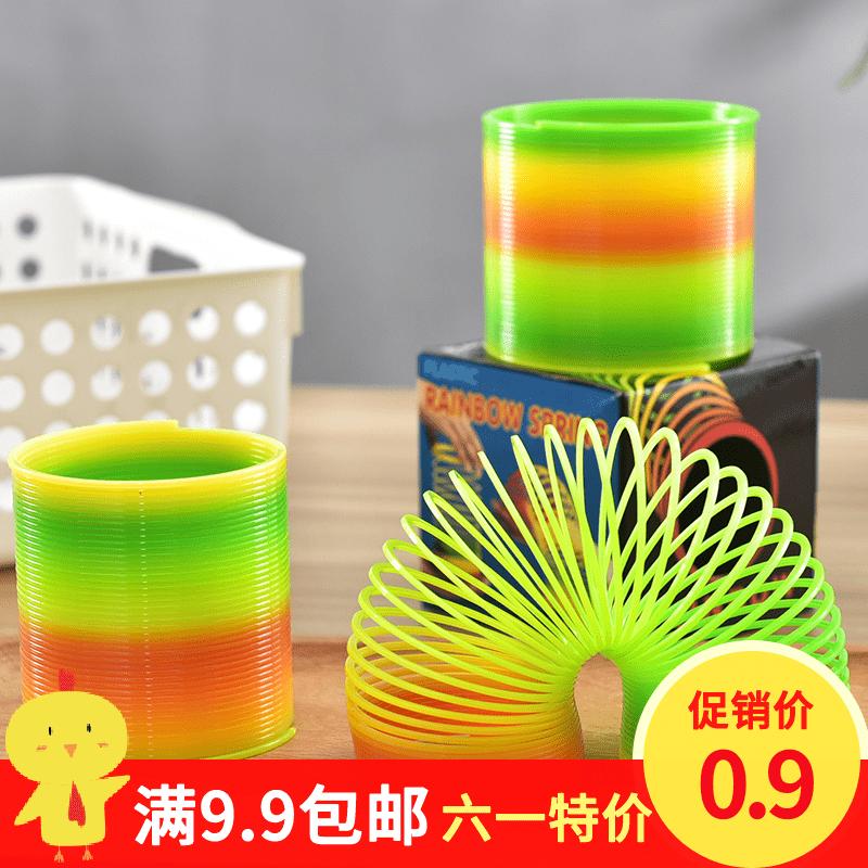 彈力圈套彈簧寶寶伸縮疊疊益智塑料玩具兒童彩虹