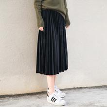 高腰秋冬韩国女学生金丝绒复古中长款风琴百褶裙丝绒半身裙子长裙