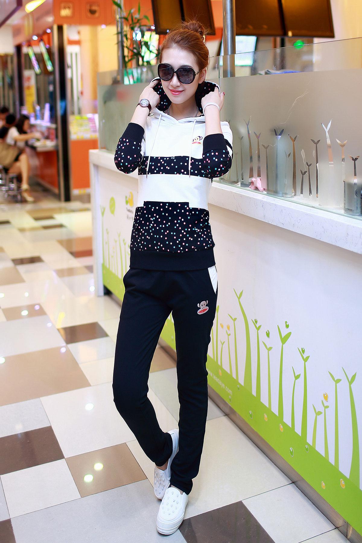 2014秋款韩版长袖大嘴猴运动套装女 大码休闲卫衣套装运动服女潮