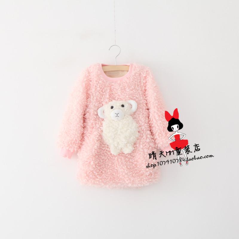 韩国童装秋冬连衣裙女童加绒加厚绵羊儿童中长款毛毛打底卫衣绒衫