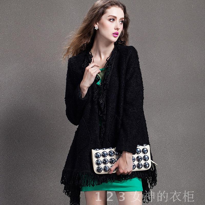 2014年秋装新款女士毛线流苏不规则开衫外套中长款西装领时尚宽松
