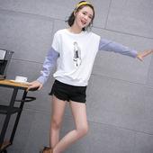 女人节特卖2017春季常规款韩版长袖女装宽松新款通勤棉圆领T恤