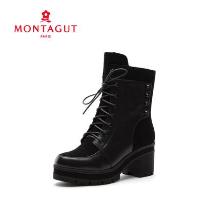 [促销价] 梦特娇女鞋2015秋冬新款牛皮休闲中跟靴子短靴D64451598PA
