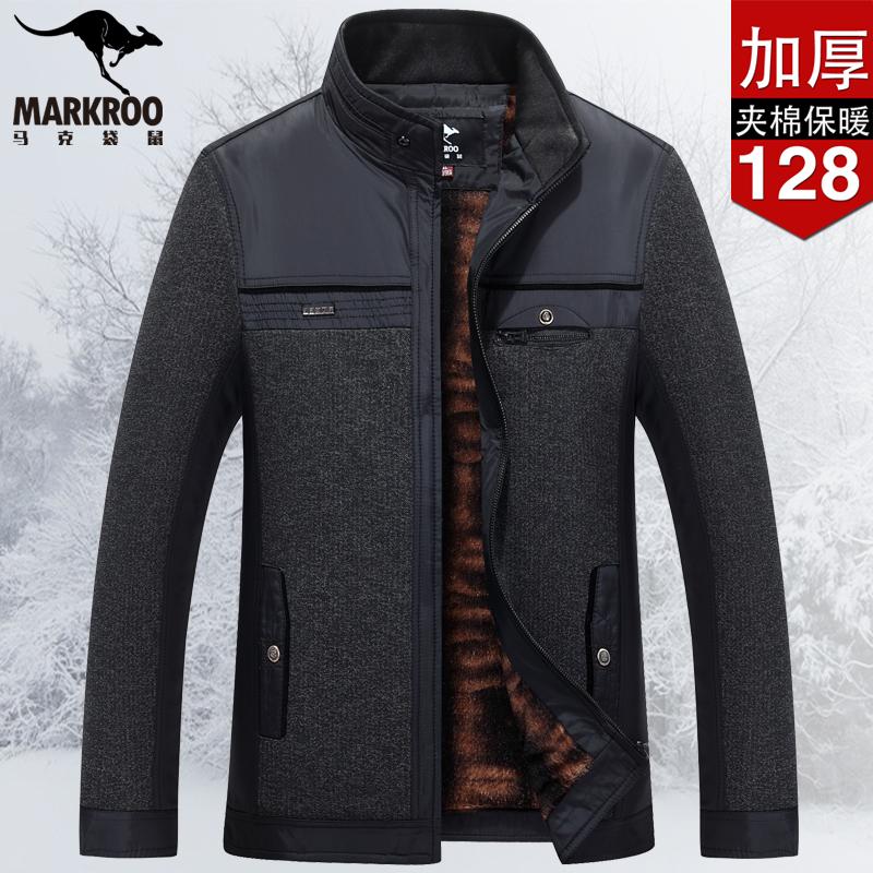 马克袋鼠中老年夹克男立领冬季保暖加绒休闲上衣中老年男外套加厚
