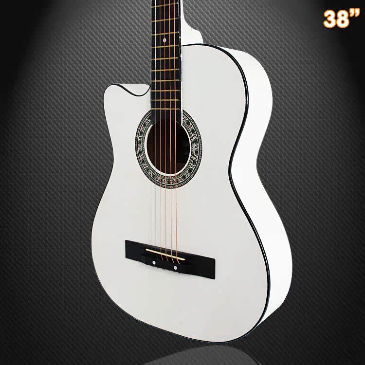 38寸吉他白色包邮女生版新品促销套餐白色民谣吉他缺角吉他吉他