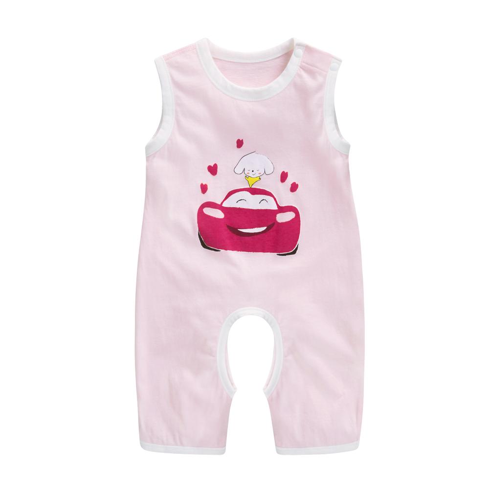 纯棉宝宝衣服哈衣开档裆爬爬服新生儿婴儿夏季背心连体