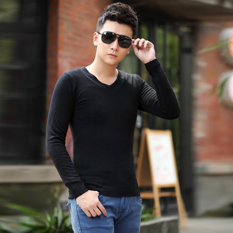 2014秋装新款青年毛线毛衣男士纯色V领修身套头针织衫男韩版薄 潮
