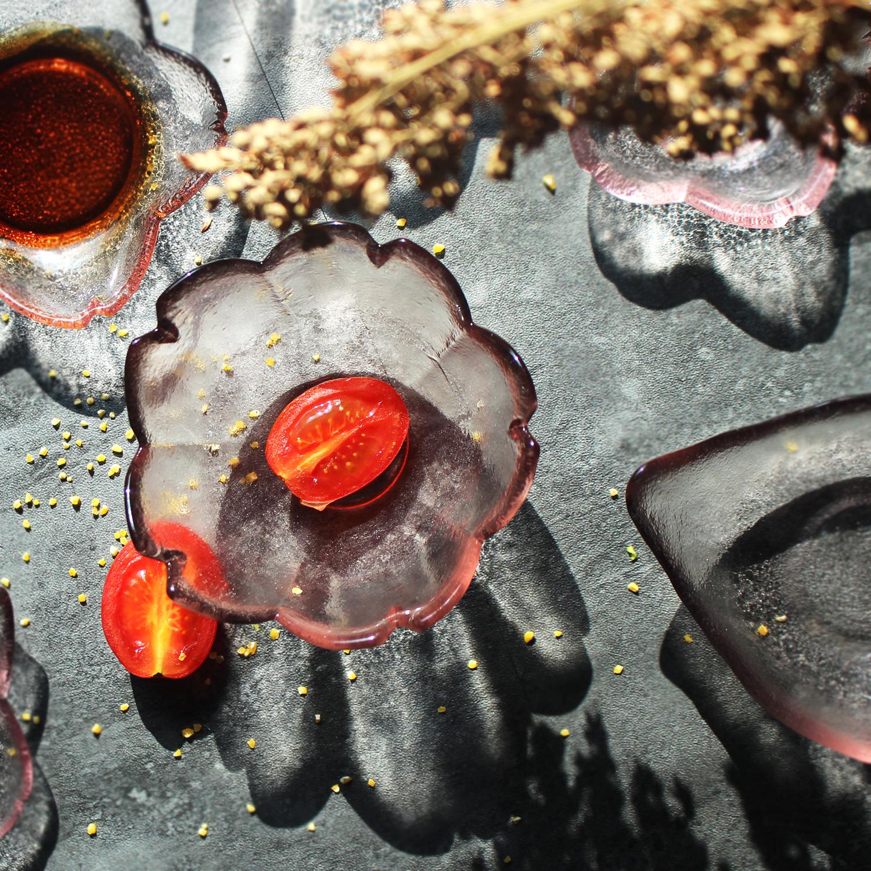 日式樱花味碟玻璃磨砂小碗水晶花瓣碟粉色小盘蘸料碟家用点心碟