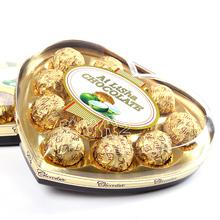 代可可脂 115克十二粒爱丽莎塑料盒心形礼盒果仁巧克力礼盒装