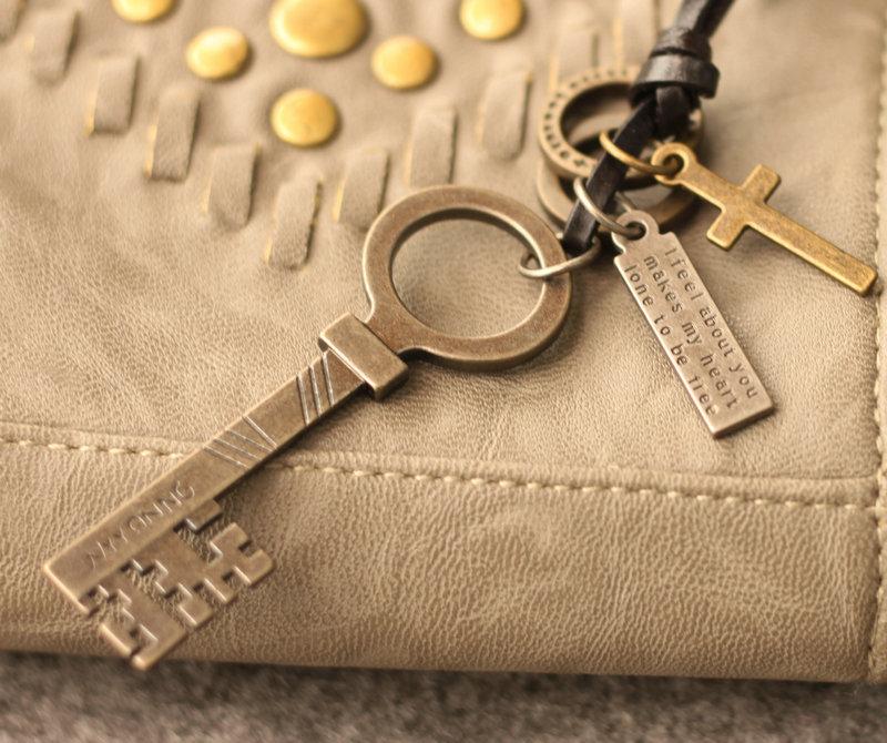 幸运锁匙~古镇长钥匙 真皮牛皮项链 挂饰吊坠毛衣链 情人节礼物