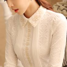 加绒蕾丝打底衫女长袖雪纺春装秋冬新款韩版加厚翻领修身保暖上衣