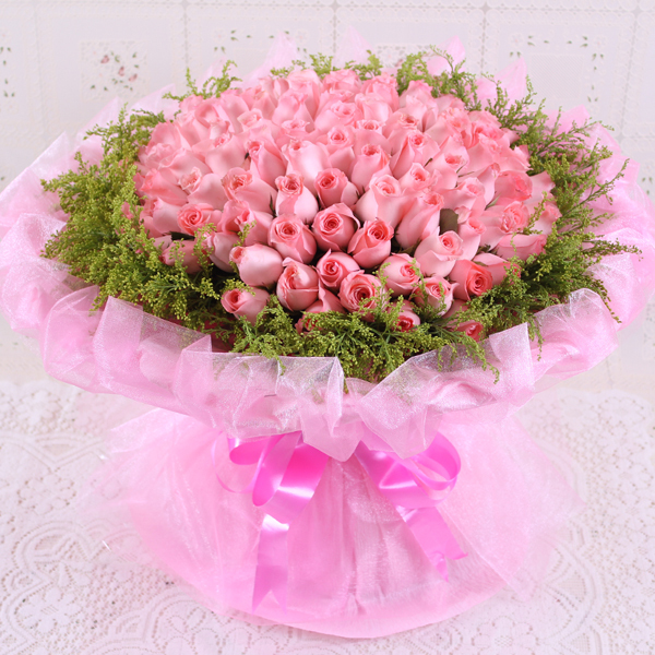 66朵粉玫瑰花束北京鲜花速递生日花杭州福州宁波鲜花店送花