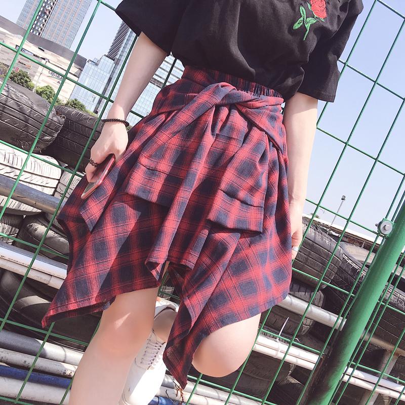 半身裙夏季2017新款女装不规则韩版学生百搭格子短裙防走光裤裙子