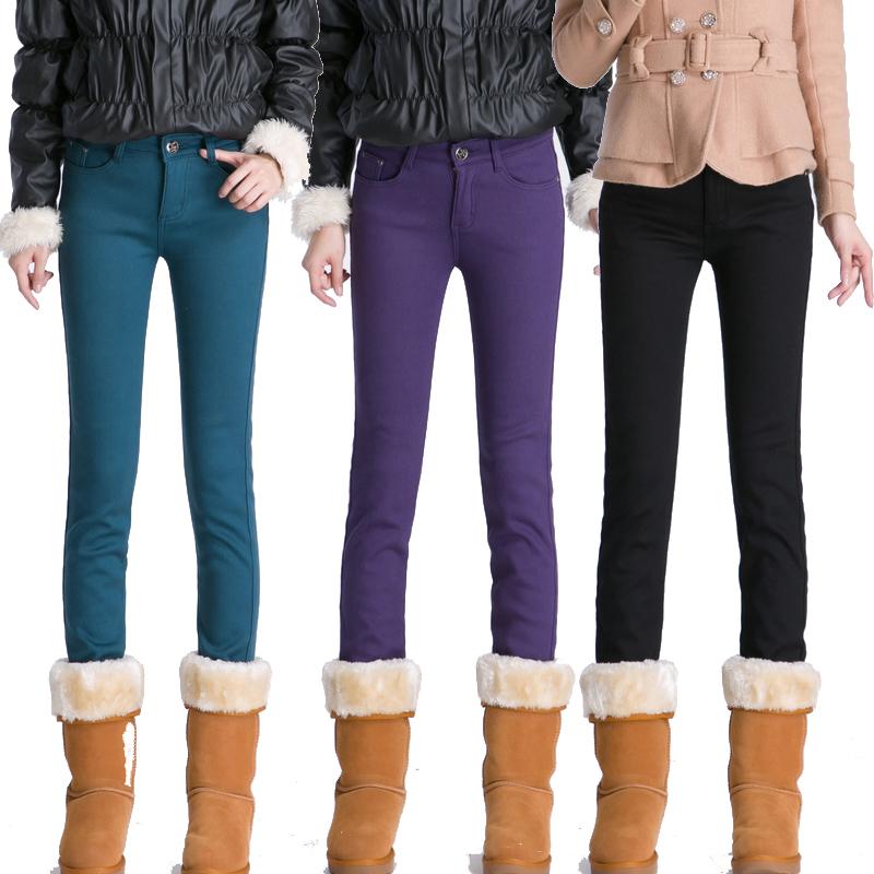 2014新款韩范秋冬加绒牛仔裤女士加厚小脚裤黑色长裤子韩版铅笔裤