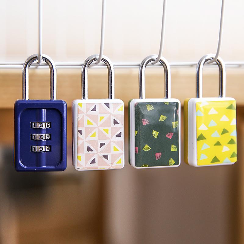 日韩家居 旅行包造型时尚滴胶密码锁 小清新行李箱防盗包锁挂锁