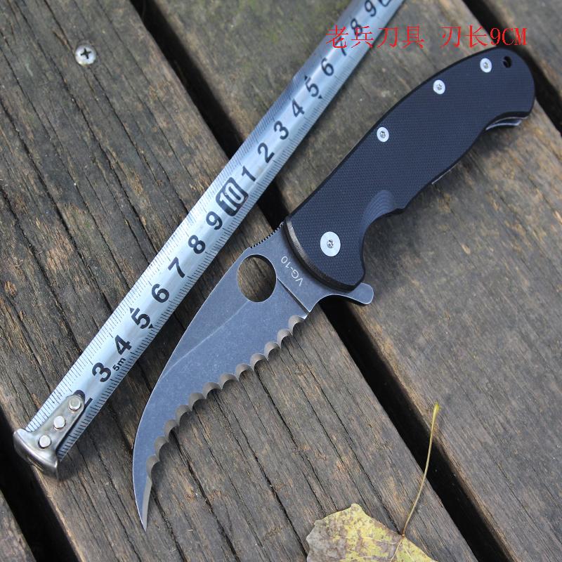 VG10全齿高硬度锋利爪刀不锈钢白钢折叠刀具小水果刀包邮