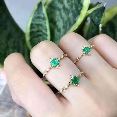新款 925银天然祖母绿戒指 精致 甜美 流行首饰 公主款情人节礼物